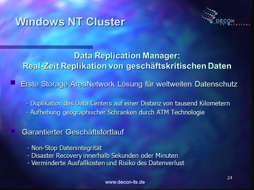 www.decon-its.de 24 Data Replication Manager: Real-Zeit Replikation von geschäftskritischen Daten Erste Storage AreaNetwork Lösung für weltweiten Date