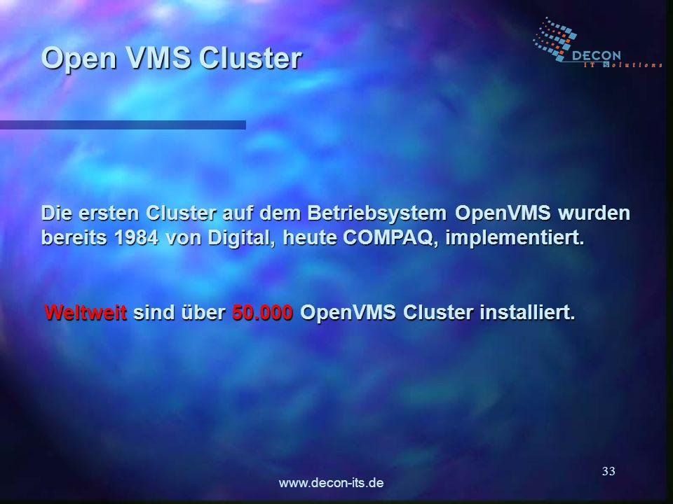 www.decon-its.de 33 Die ersten Cluster auf dem Betriebsystem OpenVMS wurden bereits 1984 von Digital, heute COMPAQ, implementiert. Open VMS Cluster We