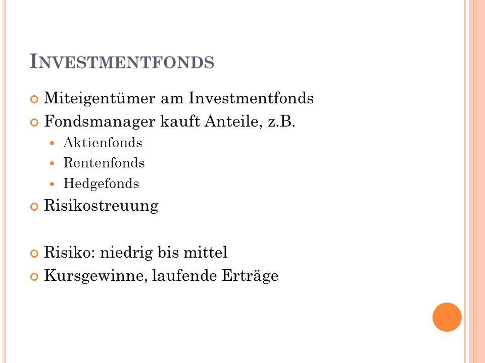 I NVESTMENTFONDS Miteigentümer am Investmentfonds Fondsmanager kauft Anteile, z.B.