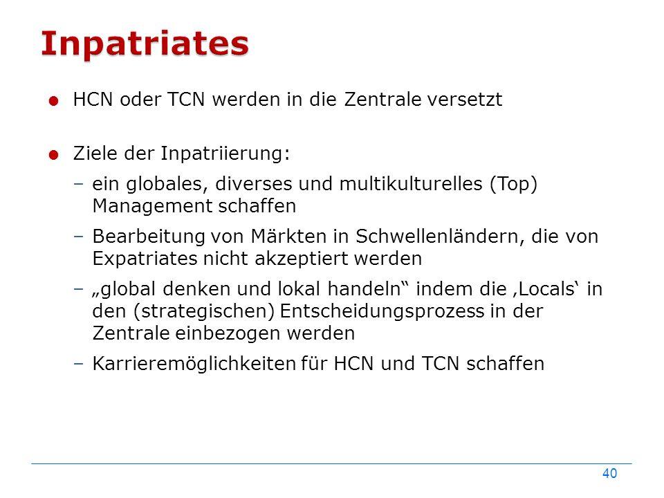 40  HCN oder TCN werden in die Zentrale versetzt  Ziele der Inpatriierung: –ein globales, diverses und multikulturelles (Top) Management schaffen –B