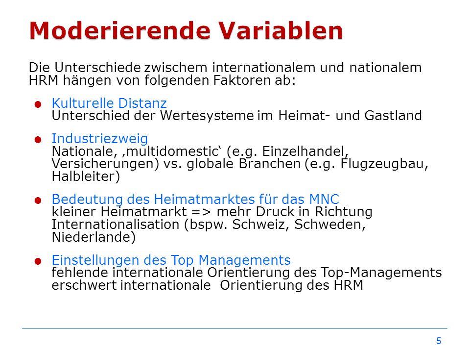 Die Unterschiede zwischem internationalem und nationalem HRM hängen von folgenden Faktoren ab:  Kulturelle Distanz Unterschied der Wertesysteme im He
