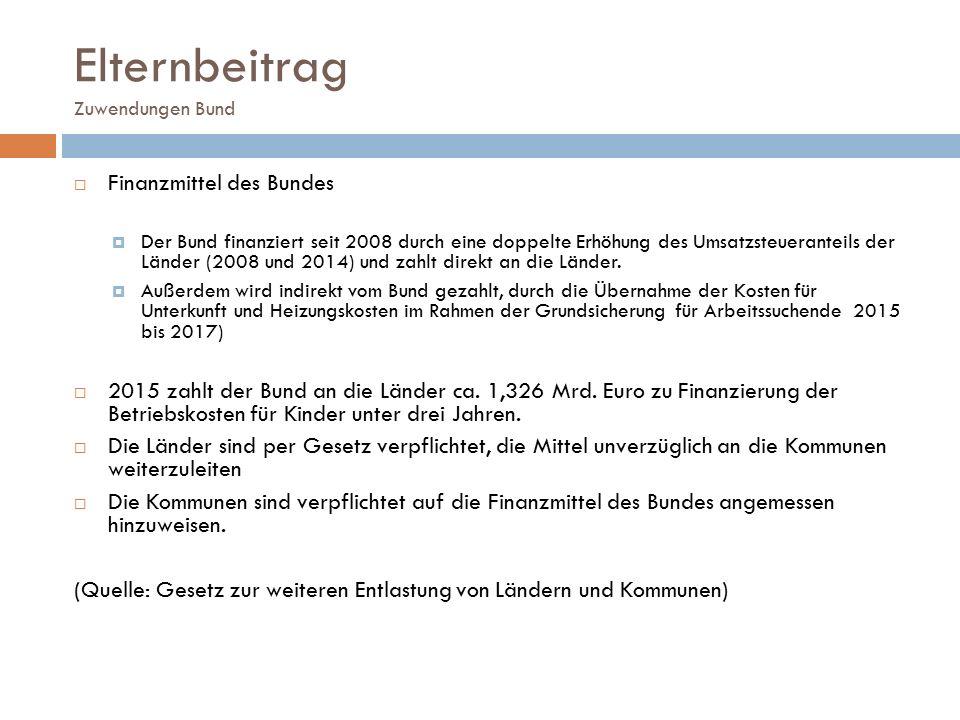 Elternbeitrag Zuwendungen Bund  Finanzmittel des Bundes  Der Bund finanziert seit 2008 durch eine doppelte Erhöhung des Umsatzsteueranteils der Länd