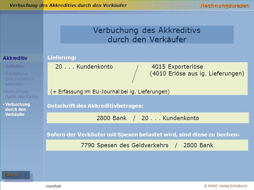 © MANZ Verlag Schulbuch Rechnungswesen Visiothek Folie 4 Verbuchung des Akkreditivs durch den Verkäufer Akkreditiv Definition Darstellung Dokumenten –