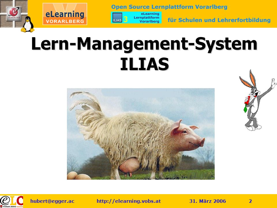 hubert@egger.ac http://elearning.vobs.at 31. März 2006 2 Lern-Management-System ILIAS