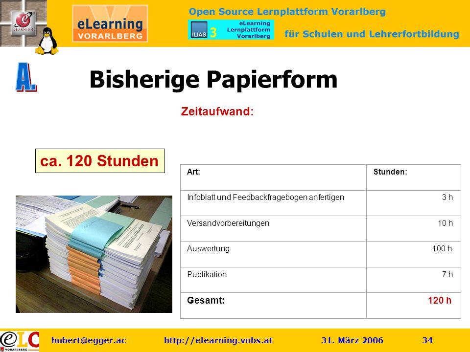 hubert@egger.ac http://elearning.vobs.at 31. März 2006 34 Bisherige Papierform Zeitaufwand: ca.