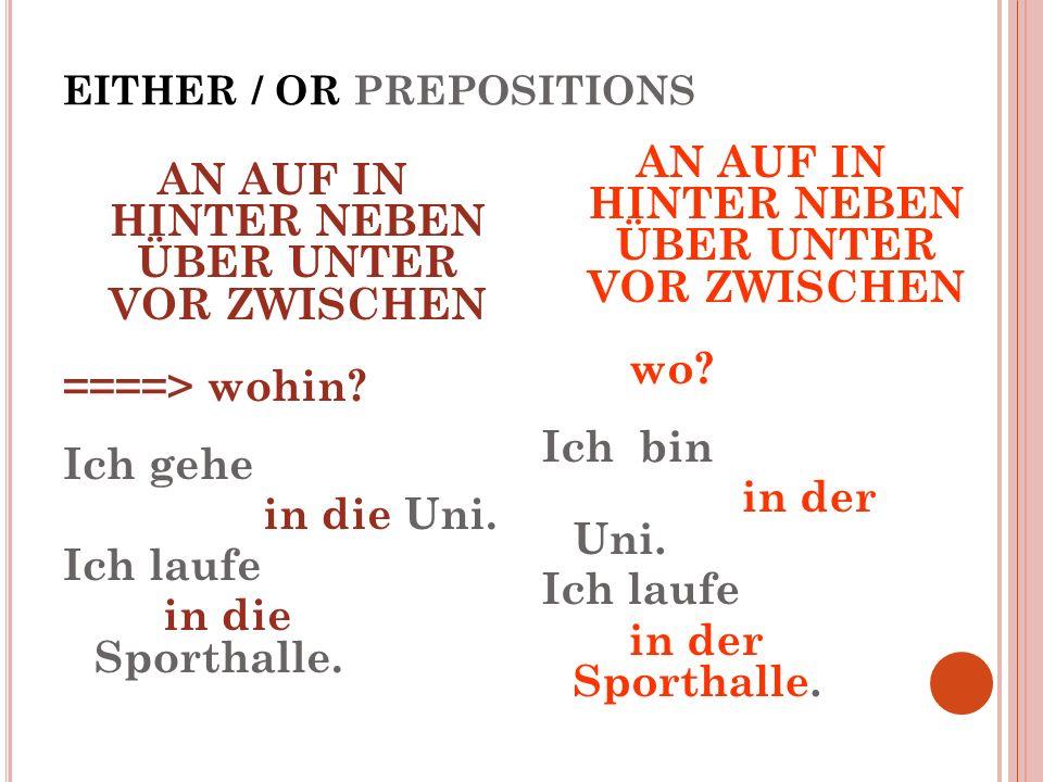 EITHER / OR PREPOSITIONS AN AUF IN HINTER NEBEN ÜBER UNTER VOR ZWISCHEN ====> wohin? Ich gehe in die Uni. Ich laufe in die Sporthalle. AN AUF IN HINTE