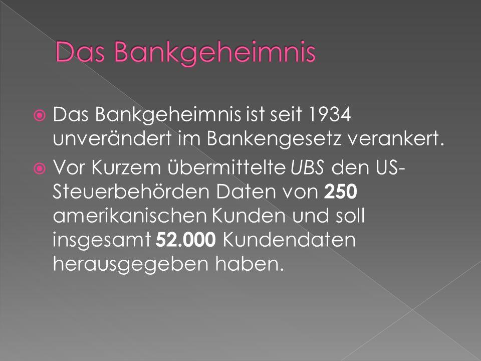  Das Bankgeheimnis ist seit 1934 unverändert im Bankengesetz verankert.