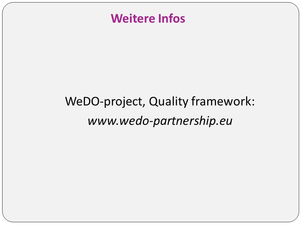 Weitere Infos WeDO-project, Quality framework: www.wedo-partnership.eu