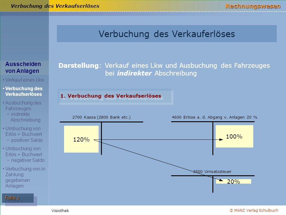 © MANZ Verlag Schulbuch Rechnungswesen Visiothek Folie 2 Darstellung: Verkauf eines Lkw und Ausbuchung des Fahrzeuges bei indirekter Abschreibung Verbuchung des Verkaufserlöses 1.
