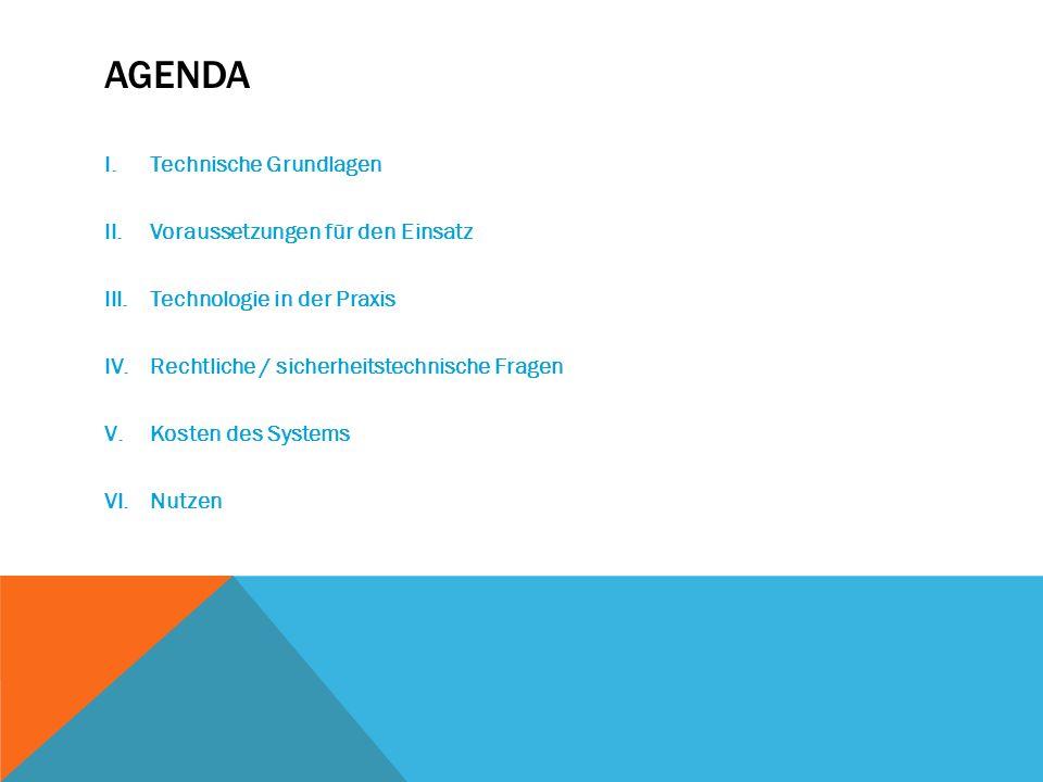 AGENDA I.Technische Grundlagen II.Voraussetzungen für den Einsatz III.Technologie in der Praxis IV.Rechtliche / sicherheitstechnische Fragen V.Kosten