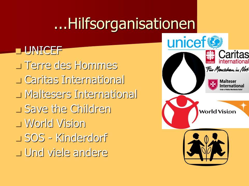 ...Hilfsorganisationen UNICEF UNICEF Terre des Hommes Terre des Hommes Caritas International Caritas International Maltesers International Maltesers International Save the Children Save the Children World Vision World Vision SOS - Kinderdorf SOS - Kinderdorf Und viele andere Und viele andere