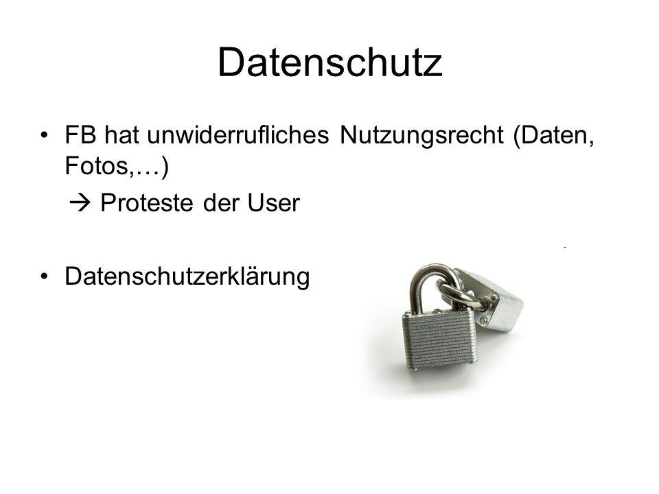Datenschutz FB hat unwiderrufliches Nutzungsrecht (Daten, Fotos,…)  Proteste der User Datenschutzerklärung