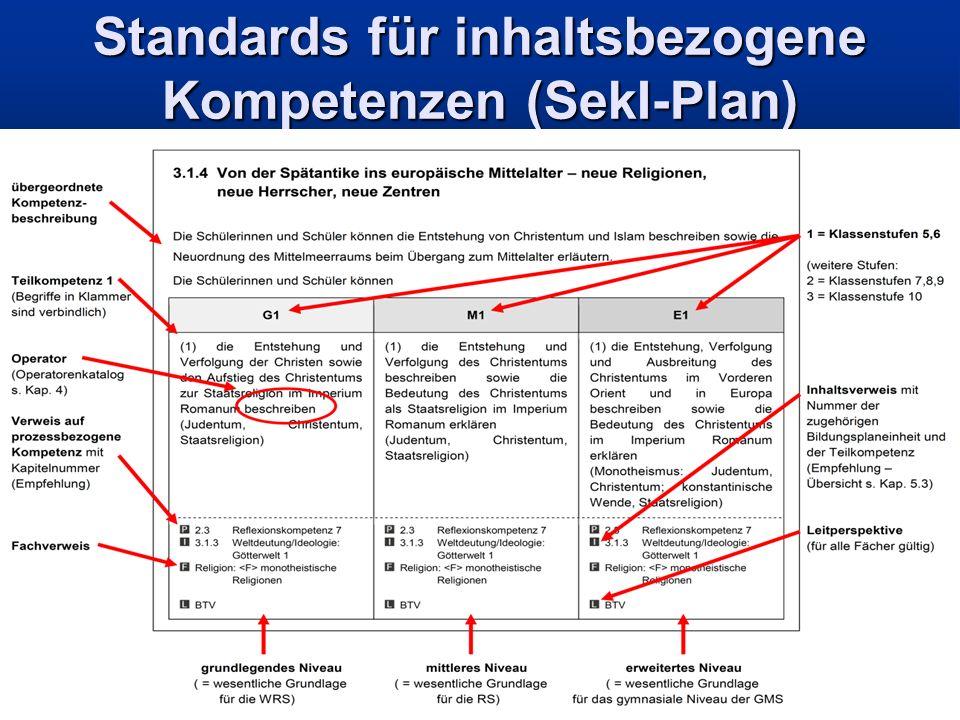 Standards für inhaltsbezogene Kompetenzen (SekI-Plan)