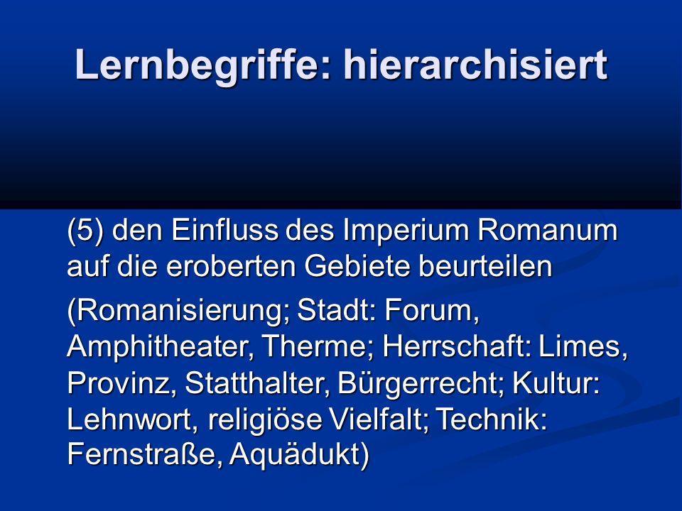 Lernbegriffe: hierarchisiert (5) den Einfluss des Imperium Romanum auf die eroberten Gebiete beurteilen (Romanisierung; Stadt: Forum, Amphitheater, Th