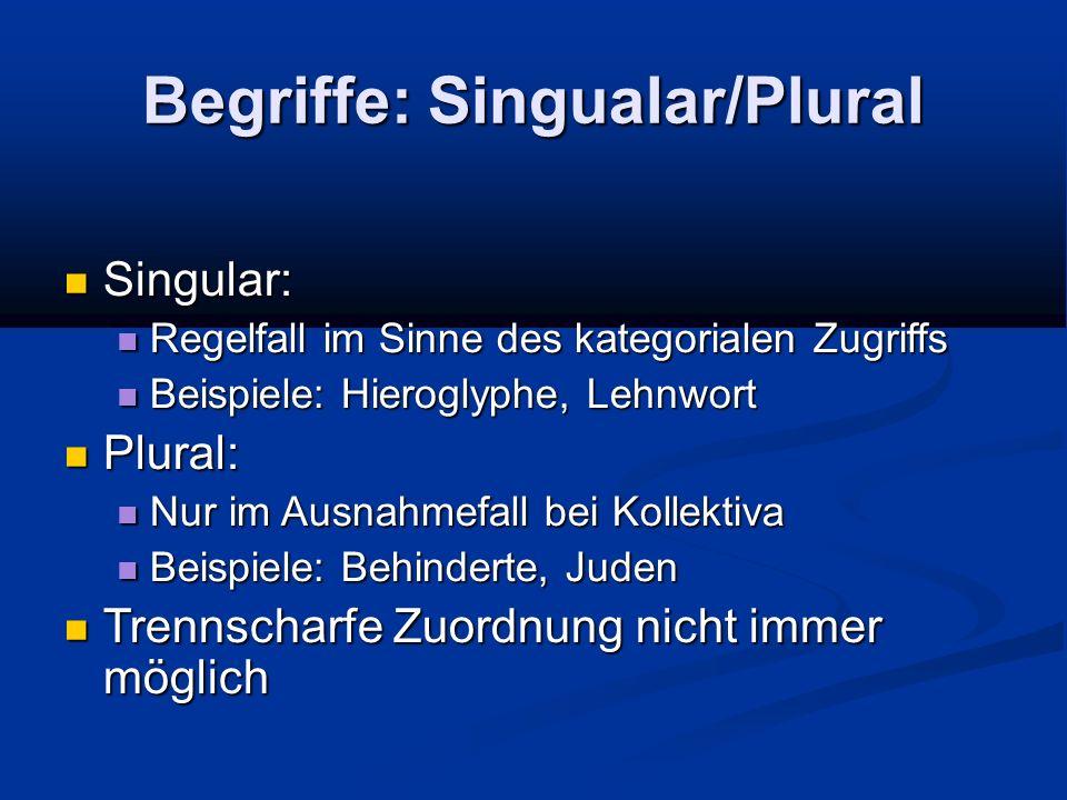 Begriffe: Singualar/Plural Singular: Singular: Regelfall im Sinne des kategorialen Zugriffs Regelfall im Sinne des kategorialen Zugriffs Beispiele: Hi