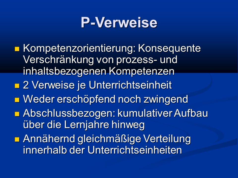 P-Verweise Kompetenzorientierung: Konsequente Verschränkung von prozess- und inhaltsbezogenen Kompetenzen Kompetenzorientierung: Konsequente Verschrän
