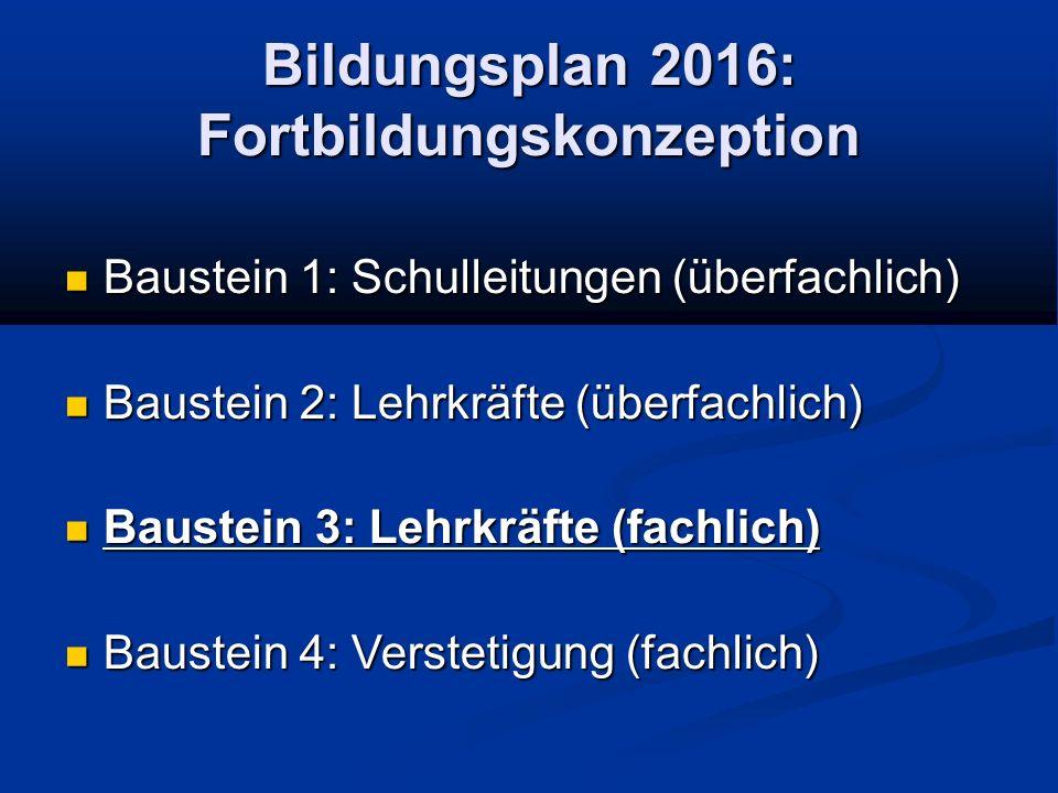 Bildungsplan 2016: Fortbildungskonzeption Baustein 1: Schulleitungen (überfachlich) Baustein 1: Schulleitungen (überfachlich) Baustein 2: Lehrkräfte (