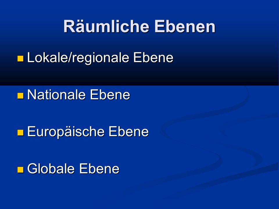 Räumliche Ebenen Lokale/regionale Ebene Lokale/regionale Ebene Nationale Ebene Nationale Ebene Europäische Ebene Europäische Ebene Globale Ebene Globa