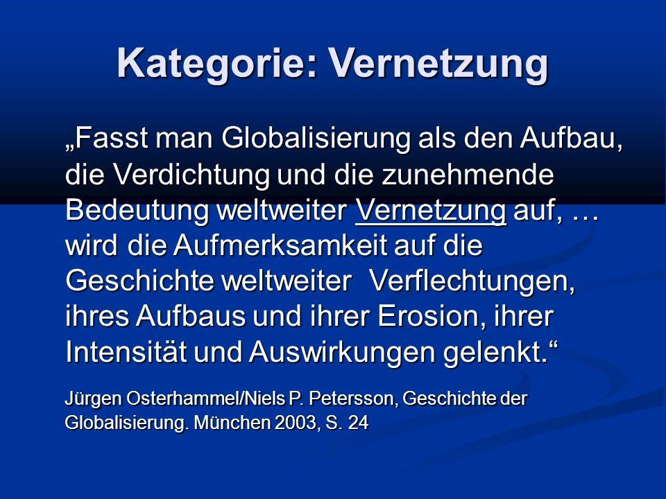 """Kategorie: Vernetzung """"Fasst man Globalisierung als den Aufbau, die Verdichtung und die zunehmende Bedeutung weltweiter Vernetzung auf, … wird die Auf"""