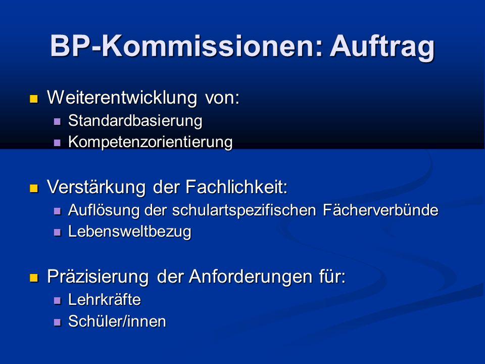 BP-Kommissionen: Auftrag Weiterentwicklung von: Weiterentwicklung von: Standardbasierung Standardbasierung Kompetenzorientierung Kompetenzorientierung