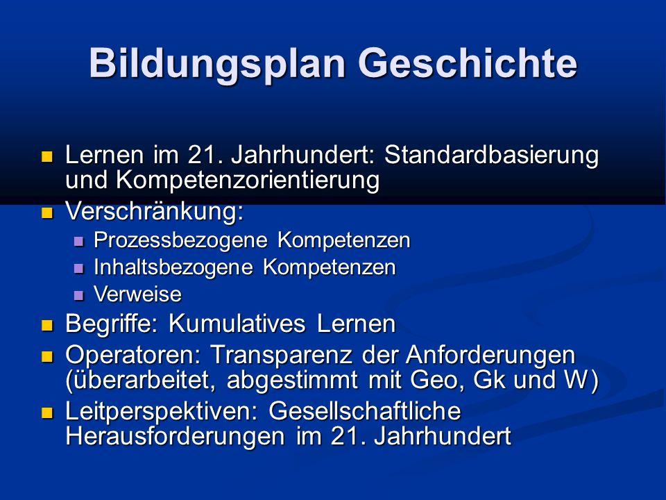 Bildungsplan Geschichte Lernen im 21.