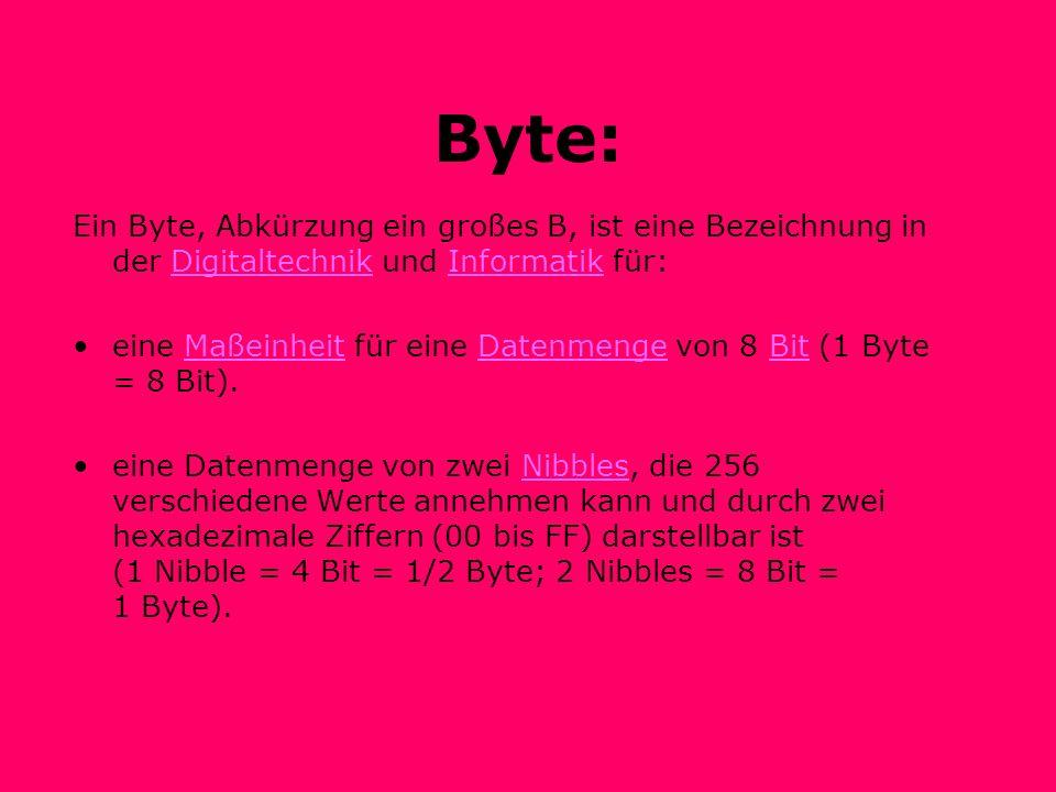 Byte: Ein Byte, Abkürzung ein großes B, ist eine Bezeichnung in der Digitaltechnik und Informatik für:DigitaltechnikInformatik eine Maßeinheit für eine Datenmenge von 8 Bit (1 Byte = 8 Bit).