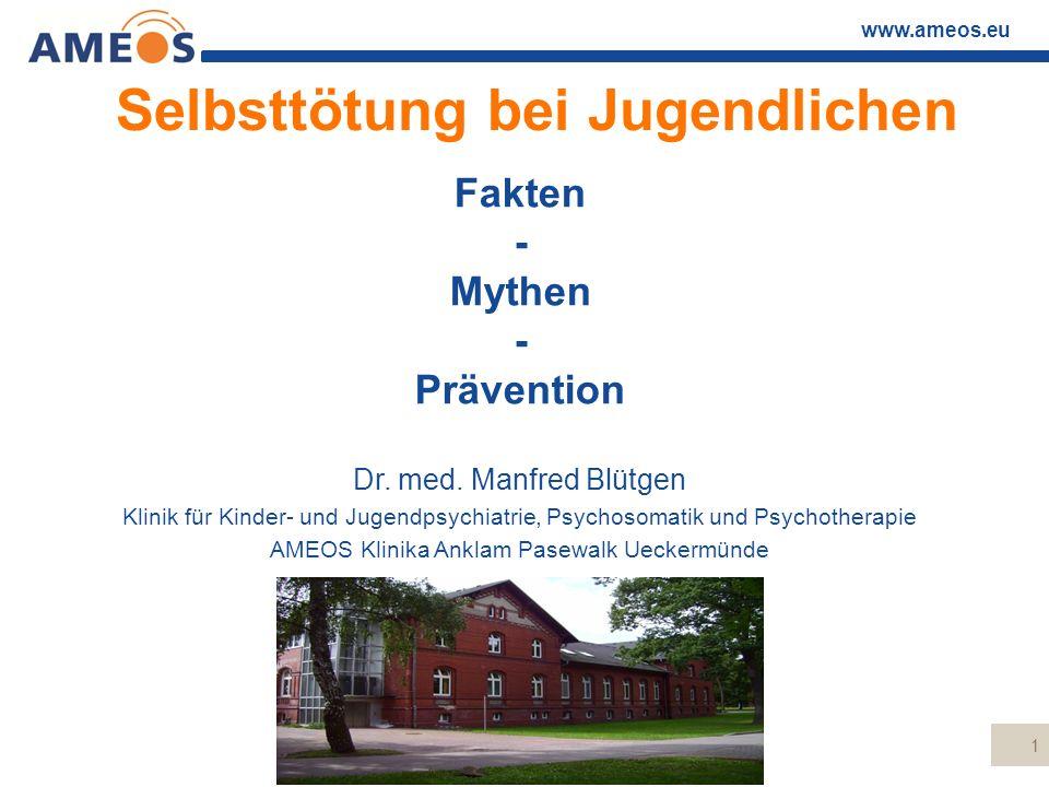 www.ameos.eu Stadien der suizidalen Entwicklung (Pöldinger, 1968) Entschluss  höchstens indirekte Suizidankündigung, oft scheinbar ruhig, gelassen (scheinbare Besserung)  Ruhe vor dem Sturm  Vorbereitungshandlungen (Tabletten sammeln etc.)