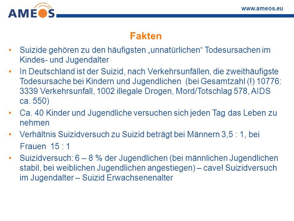 """www.ameos.eu Fakten Suizide gehören zu den häufigsten """"unnatürlichen"""" Todesursachen im Kindes- und Jugendalter In Deutschland ist der Suizid, nach Ver"""