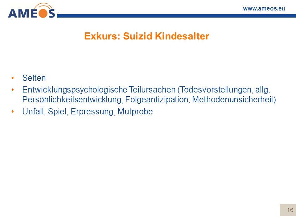 www.ameos.eu Exkurs: Suizid Kindesalter Selten Entwicklungspsychologische Teilursachen (Todesvorstellungen, allg. Persönlichkeitsentwicklung, Folgeant