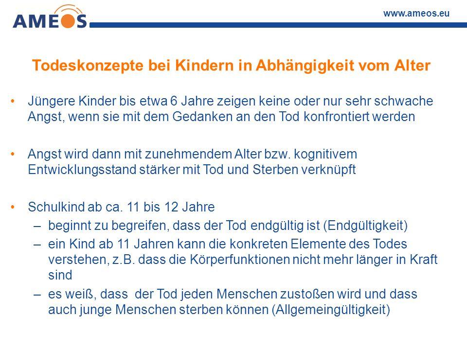 www.ameos.eu Todeskonzepte bei Kindern in Abhängigkeit vom Alter Jüngere Kinder bis etwa 6 Jahre zeigen keine oder nur sehr schwache Angst, wenn sie m