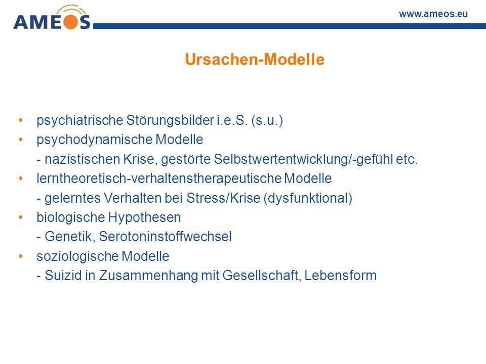 www.ameos.eu Ursachen-Modelle psychiatrische Störungsbilder i.e.S. (s.u.) psychodynamische Modelle - nazistischen Krise, gestörte Selbstwertentwicklun