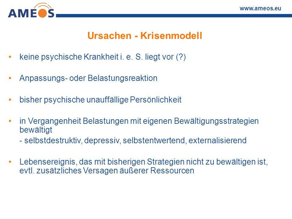 www.ameos.eu Ursachen - Krisenmodell keine psychische Krankheit i. e. S. liegt vor (?) Anpassungs- oder Belastungsreaktion bisher psychische unauffäll