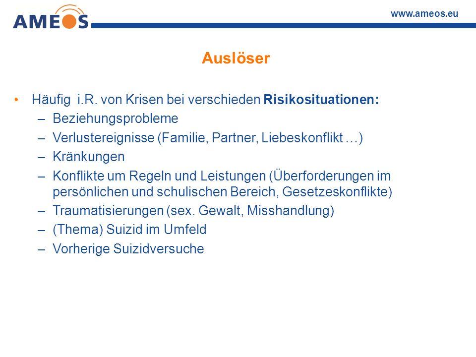 www.ameos.eu Auslöser Häufig i.R. von Krisen bei verschieden Risikosituationen: –Beziehungsprobleme –Verlustereignisse (Familie, Partner, Liebeskonfli