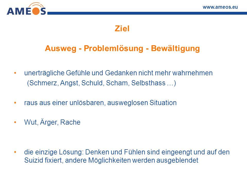 www.ameos.eu Ziel Ausweg - Problemlösung - Bewältigung unerträgliche Gefühle und Gedanken nicht mehr wahrnehmen (Schmerz, Angst, Schuld, Scham, Selbst
