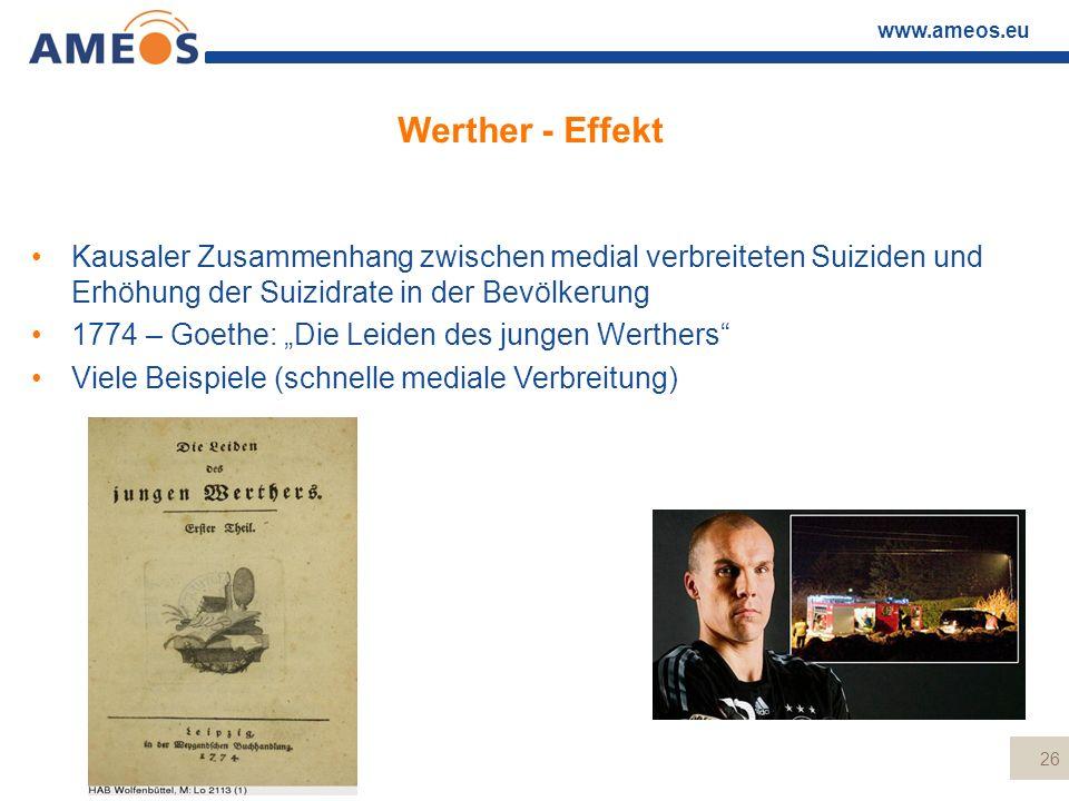www.ameos.eu Werther - Effekt Kausaler Zusammenhang zwischen medial verbreiteten Suiziden und Erhöhung der Suizidrate in der Bevölkerung 1774 – Goethe