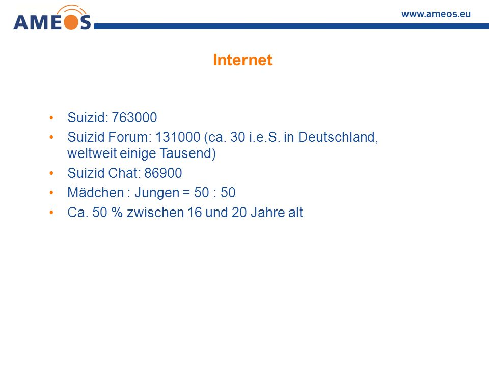 www.ameos.eu Internet Suizid: 763000 Suizid Forum: 131000 (ca. 30 i.e.S. in Deutschland, weltweit einige Tausend) Suizid Chat: 86900 Mädchen : Jungen