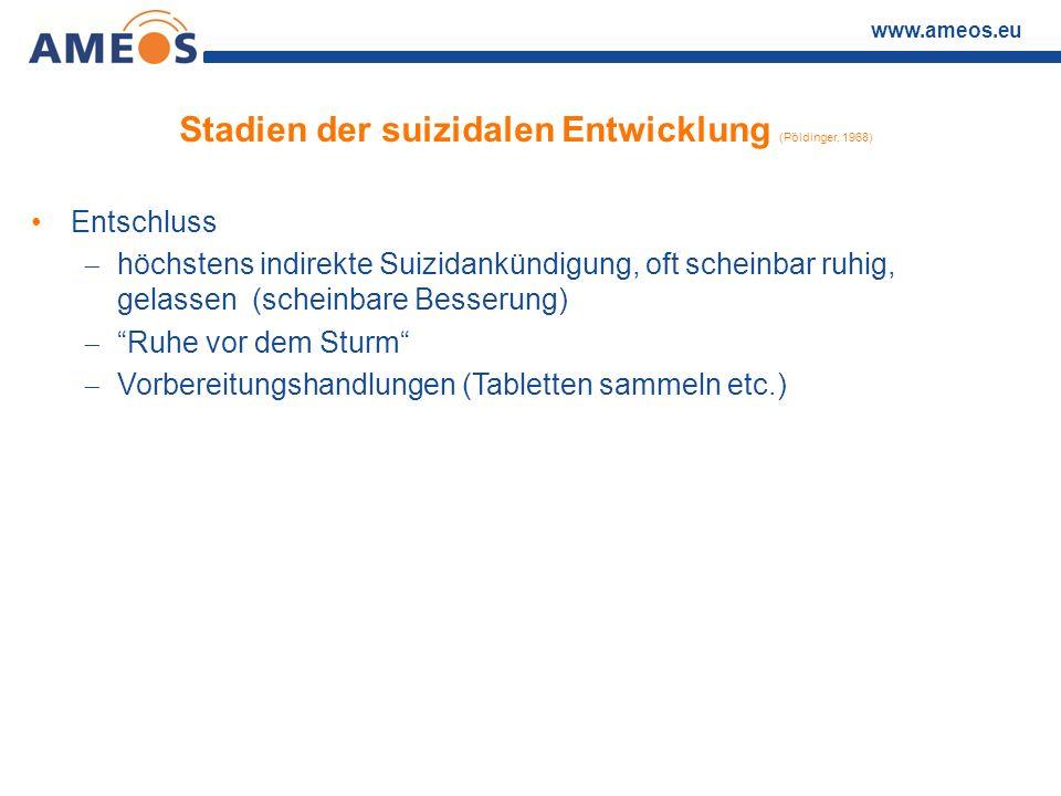 www.ameos.eu Stadien der suizidalen Entwicklung (Pöldinger, 1968) Entschluss  höchstens indirekte Suizidankündigung, oft scheinbar ruhig, gelassen (s