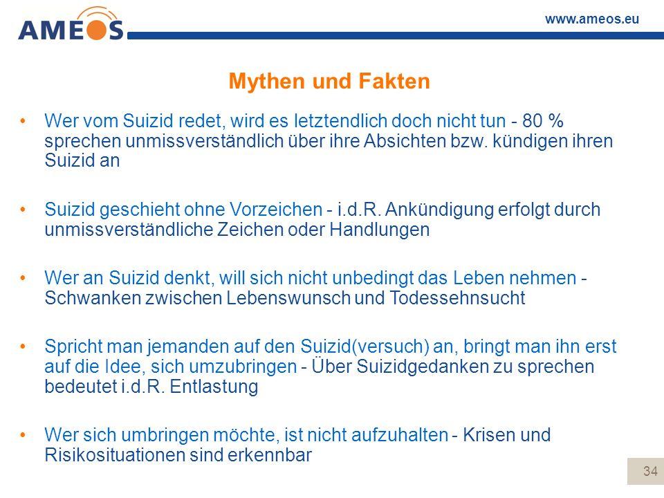 www.ameos.eu Mythen und Fakten Wer vom Suizid redet, wird es letztendlich doch nicht tun - 80 % sprechen unmissverständlich über ihre Absichten bzw. k