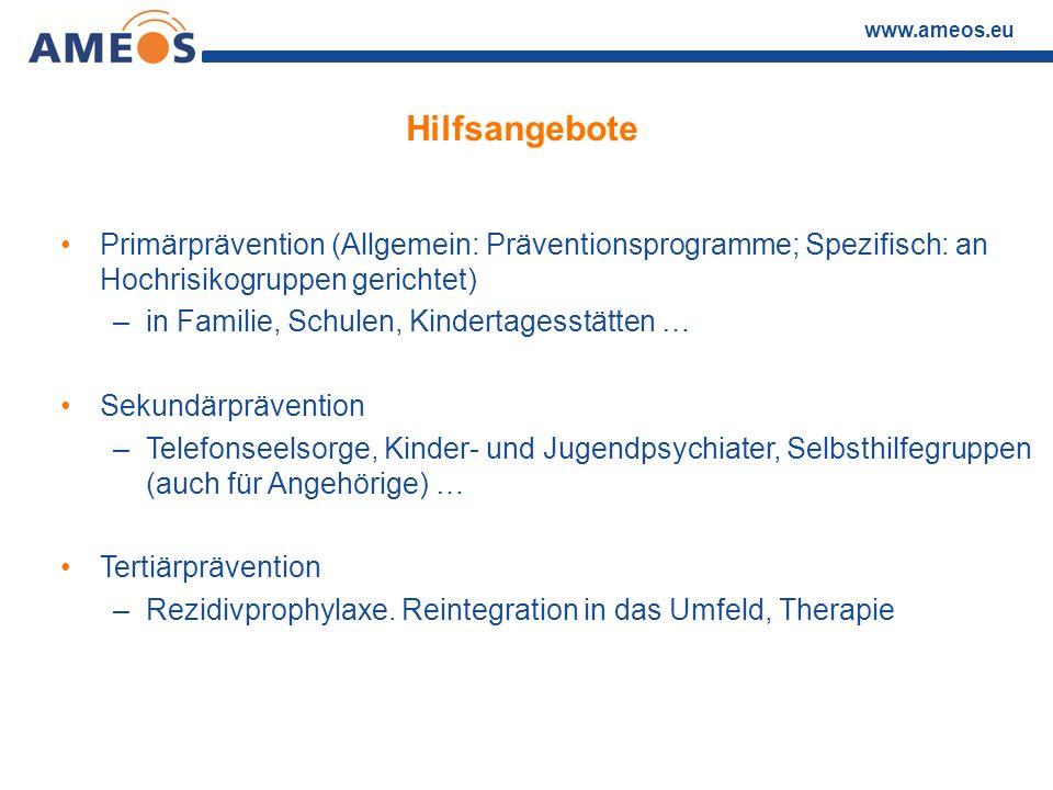 www.ameos.eu Hilfsangebote Primärprävention (Allgemein: Präventionsprogramme; Spezifisch: an Hochrisikogruppen gerichtet) –in Familie, Schulen, Kinder