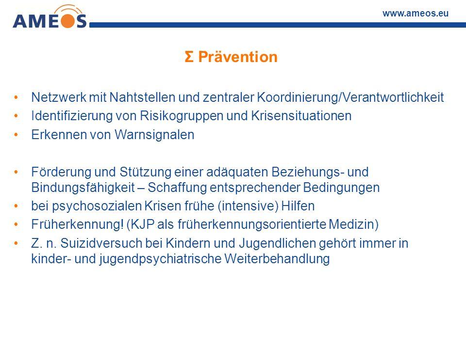 www.ameos.eu Σ Prävention Netzwerk mit Nahtstellen und zentraler Koordinierung/Verantwortlichkeit Identifizierung von Risikogruppen und Krisensituatio