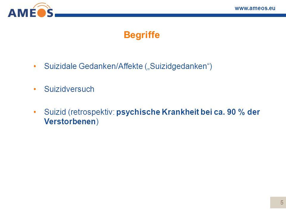 www.ameos.eu 6 Begriffe Suizidale Gedanken/Affekte: –Verbale/nicht verbale Anzeichen, die direkt oder indirekt Beschäftigung mit Selbsttötungsideen anzeigen ohne Verknüpfung mit Handlungen (ca.