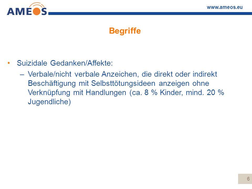 www.ameos.eu 6 Begriffe Suizidale Gedanken/Affekte: –Verbale/nicht verbale Anzeichen, die direkt oder indirekt Beschäftigung mit Selbsttötungsideen an