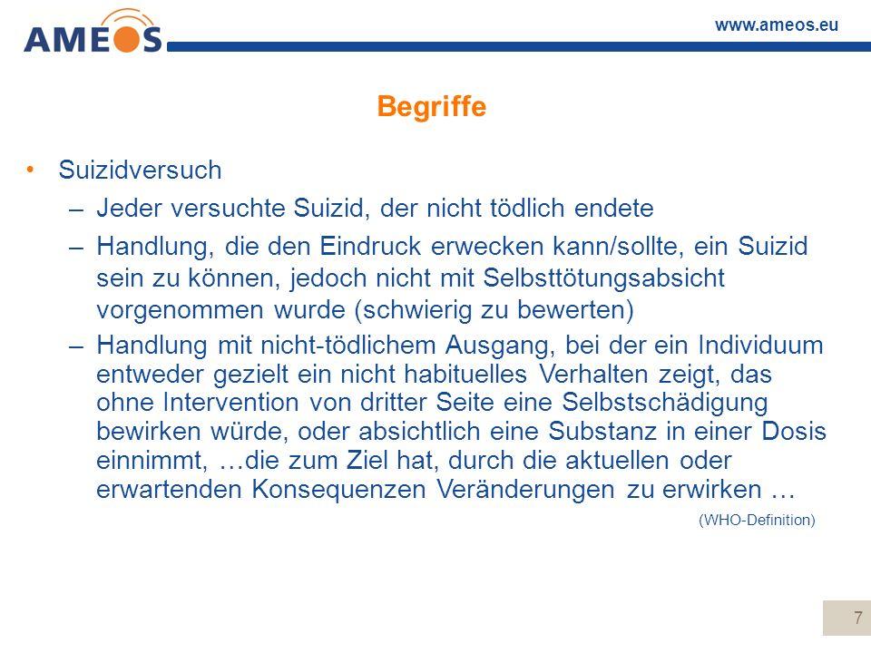 www.ameos.eu 7 Begriffe Suizidversuch –Jeder versuchte Suizid, der nicht tödlich endete –Handlung, die den Eindruck erwecken kann/sollte, ein Suizid s