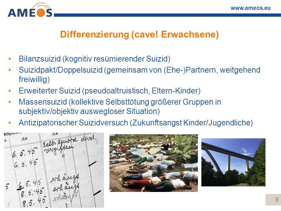 www.ameos.eu Differenzierung (cave! Erwachsene) Bilanzsuizid (kognitiv resümierender Suizid) Suizidpakt/Doppelsuizid (gemeinsam von (Ehe-)Partnern, we