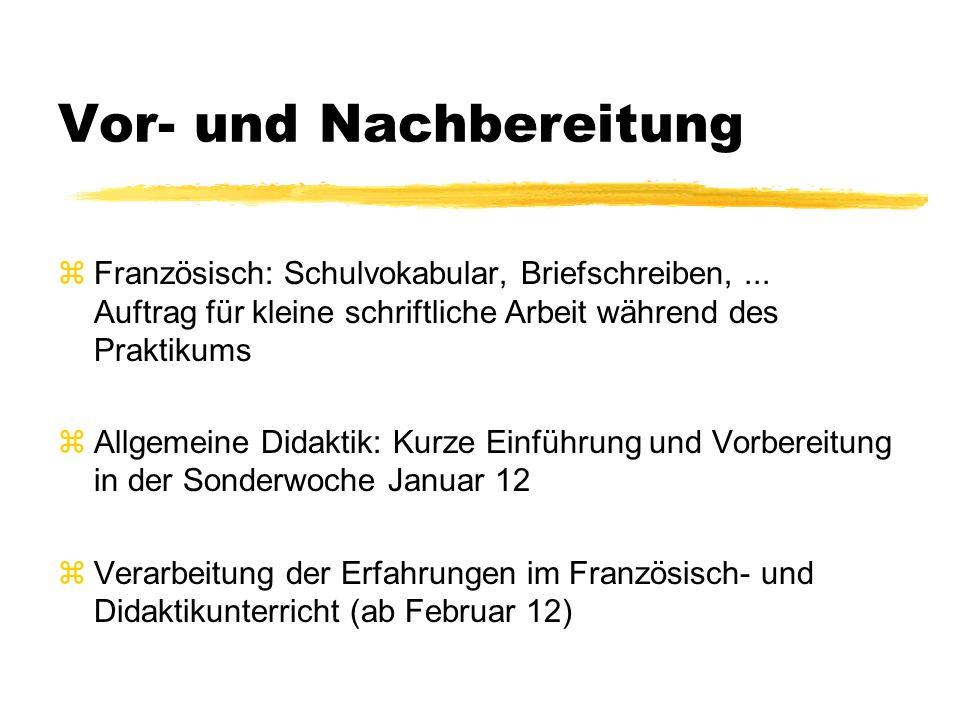 Vor- und Nachbereitung zFranzösisch: Schulvokabular, Briefschreiben,...