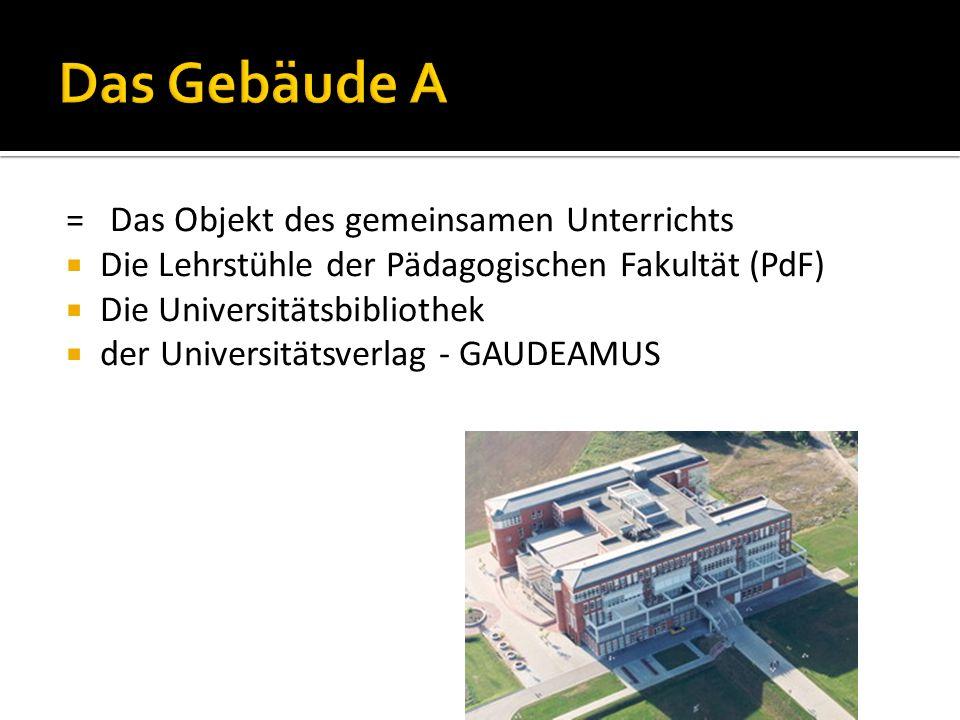 = Das Objekt des gemeinsamen Unterrichts  Die Lehrstühle der Pädagogischen Fakultät (PdF)  Die Universitätsbibliothek  der Universitätsverlag - GAUDEAMUS