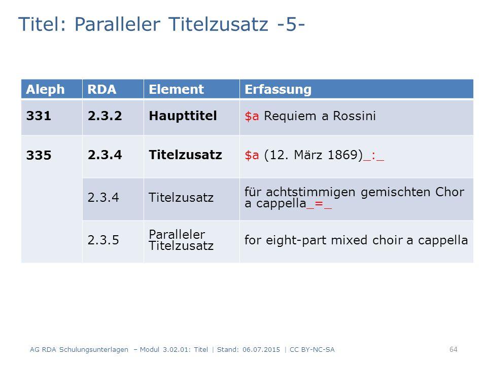 Titel: Paralleler Titelzusatz -5- AlephRDAElementErfassung 3312.3.2Haupttitel$a Requiem a Rossini 335 2.3.4Titelzusatz$a (12.