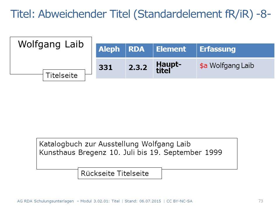 Titel: Abweichender Titel (Standardelement fR/iR) -8- Wolfgang Laib Katalogbuch zur Ausstellung Wolfgang Laib Kunsthaus Bregenz 10.