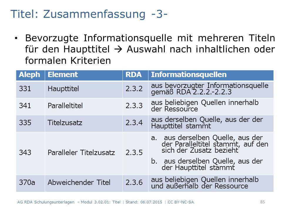 Titel: Zusammenfassung -3- Bevorzugte Informationsquelle mit mehreren Titeln für den Haupttitel  Auswahl nach inhaltlichen oder formalen Kriterien AlephElementRDAInformationsquellen 331Haupttitel2.3.2 aus bevorzugter Informationsquelle gemäß RDA 2.2.2.-2.2.3 341Paralleltitel2.3.3 aus beliebigen Quellen innerhalb der Ressource 335Titelzusatz2.3.4 aus derselben Quelle, aus der der Haupttitel stammt 343Paralleler Titelzusatz2.3.5 a.