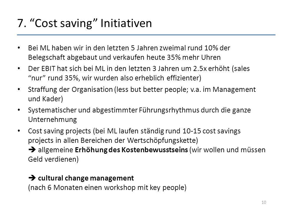 """7. """"Cost saving"""" Initiativen Bei ML haben wir in den letzten 5 Jahren zweimal rund 10% der Belegschaft abgebaut und verkaufen heute 35% mehr Uhren Der"""
